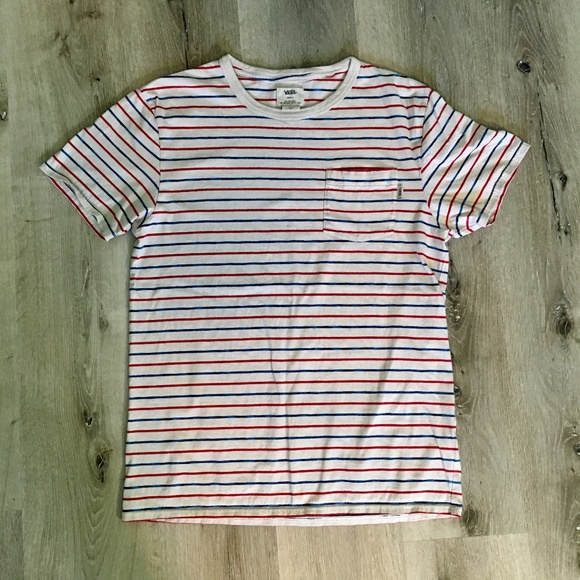 e5187b9264 Men s Vans Classic Red White Blue Striped Tee. M 5b8a0567534ef921d840af76